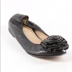 Valentino Garavani Black Leather Floral Flats